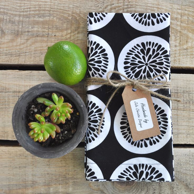 Black and White Citrus Print Set of 4 Handmade Cotton Napkins with Mitred Corners. Visit my Etsy store for sales.