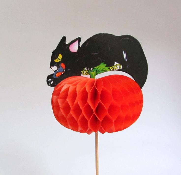 vintage halloween honeycomb decoration black cat on pumpkin cake pick - Vintage Halloween Decorations For Sale