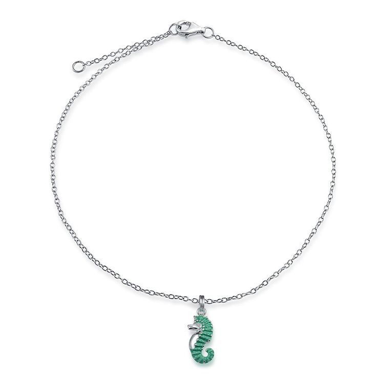 Bling Jewelry Blue E  Bling Jewelry Blue Enamel Stardust Nautical Seahorse Charm Anklet Sterling Silver 9in ** Find out more about the great product at the image link. (This is an affiliate link and I receive a commission for the sales)