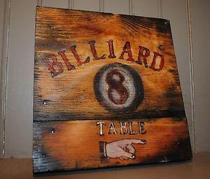Billiards Pool Hall Billiards Sign Antique Trade Sign