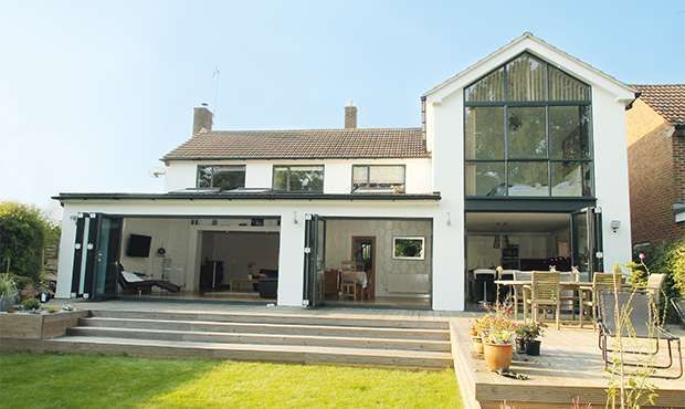 A two storey glass extension