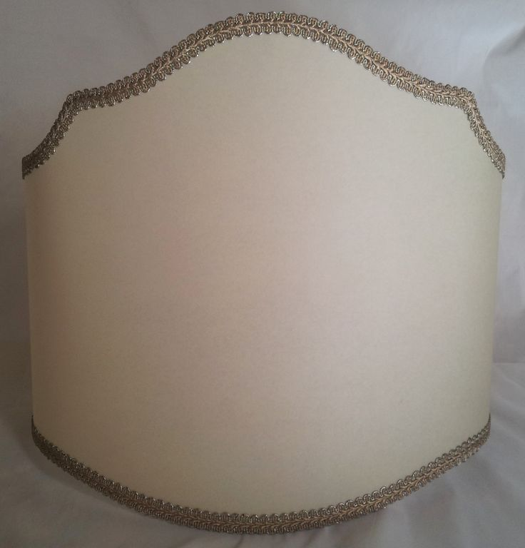 Floor Half Lamp Shade in Cream Parchment with Silver Gold Trim Large Lampshade