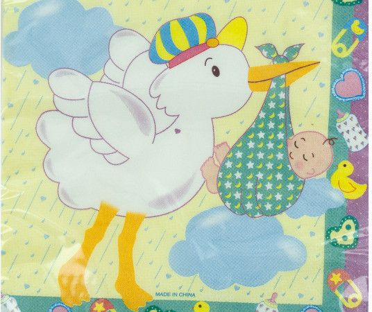 storks surprise baby shower napkins Case of 24