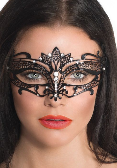 enchanted black metal masquerade mask deluxe womens black masquerade mask halloween costumes fancy - Halloween Costumes With A Masquerade Mask