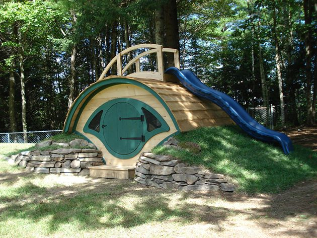 Kids Playground Hobbit Hole - great :-) My Dad is thinking about this for the kids with a rope swing on a nearby tree and a fire pit for the adults!