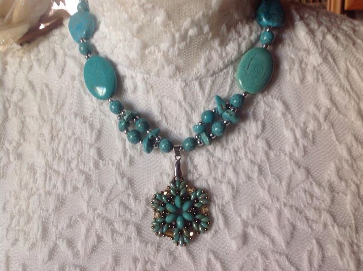 collana con perle di turchese ciondolo swarovski