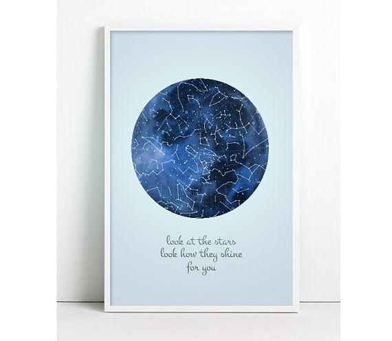Galaxy Print, Astronomy Poster, Moon, Constellation Print night Sky Vintage Constellation Map Stars Inspirational Print Galaxy Geeky Nursery