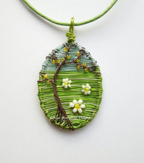 Summer tree pendant, wire tree pendant, daisy jewelry, tree of life jewellery MADE TO ORDER When youre dreaming of summer, do you dream of