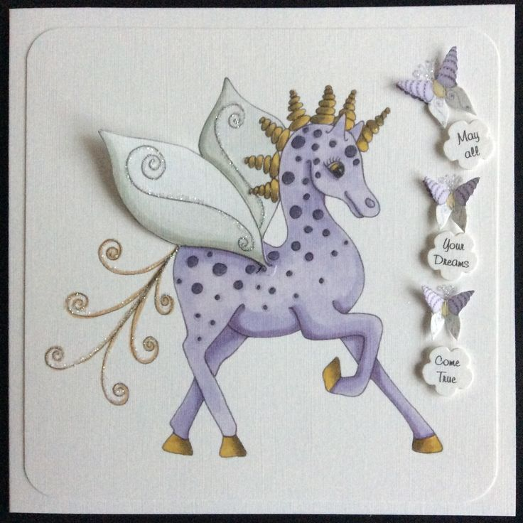 Order code 031508 May all your dreams come true. Fabulous fantasy horse from the House of Zandra. The images are so cute, they only need a little gloss and glitter.
