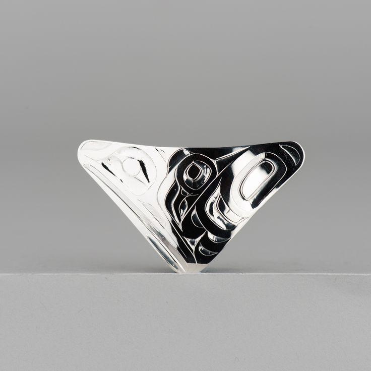 Sterling silver Raven pendant by Haida artist Alvin Adkins