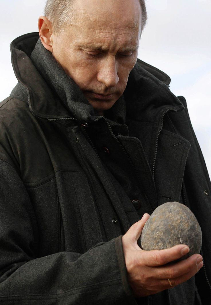 Putin looking at a Rock. And, It is not The Rock of Ages. A Big Imagination, It seems ! | 48 Photos Of Vladimir Putin Looking At Things: