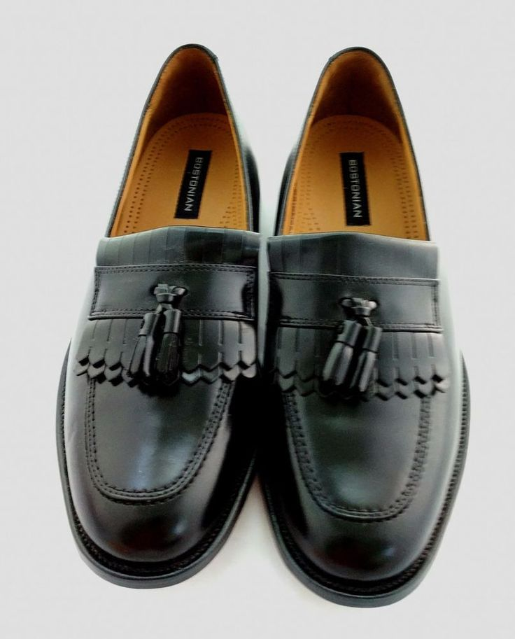 Bostonian First Flex Black Leather Tassel Kiltie Loafers Shoes Mens Sz 9.5 M New #Bostonian #LoafersSlipOns