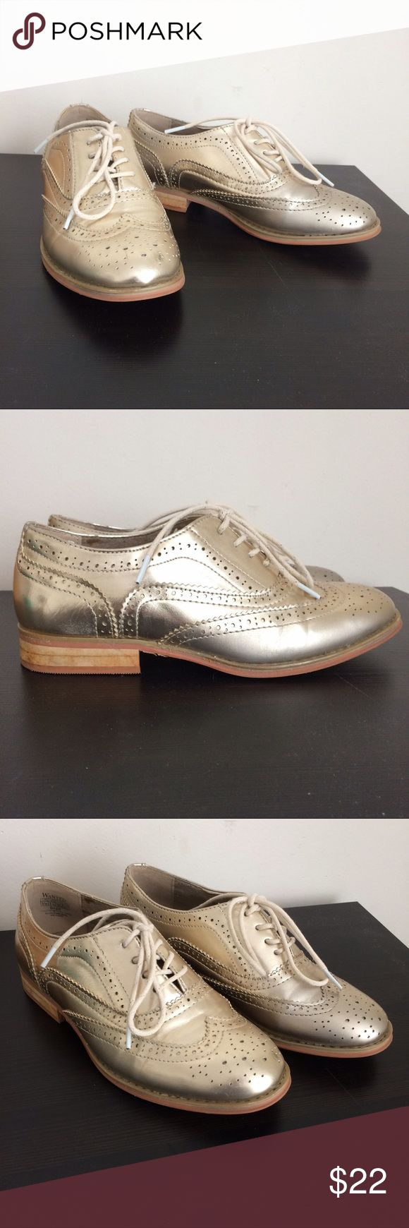 Gold Oxfords/Brogues - Probably Magic I mean just LOOK at them. They reek of enchantment. These shoes want to show you a whole new world. Wanted Shoes Flats & Loafers