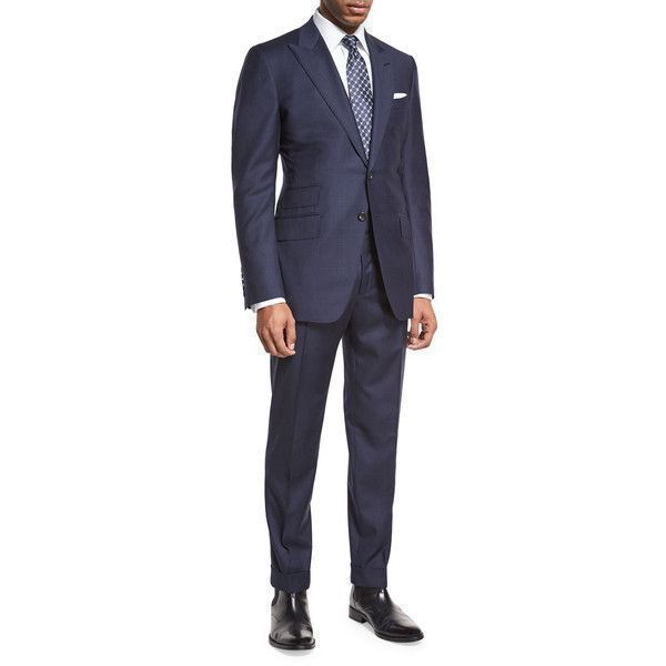 Tom Ford O'Connor Base Windowpane Two-Piece Suit ($4,890) ❤ liked on Polyvore featuring men's fashion, men's clothing, men's suits, navy, tom ford mens clothing, mens navy blue suit, mens 3 button suits, mens navy suit and tom ford mens suits #menssuitsnavy #mens3piecesuits
