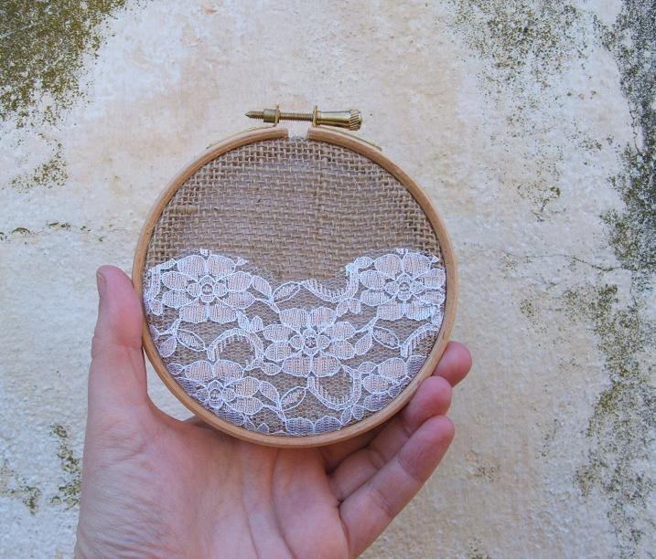 Idea - decorate board w/ layered burlap & lace.