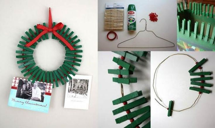 DIY Christmas Wreath Photo Frame with Clothespins | GoodHomeDIY.com Follow Us on Facebook --> https://www.facebook.com/pages/Good-Home-DIY/438658622943462?ref=hl