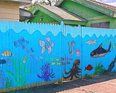 fence painted to look like beach | And why not paint a rickety, old, stockade fence! You can learn more ...