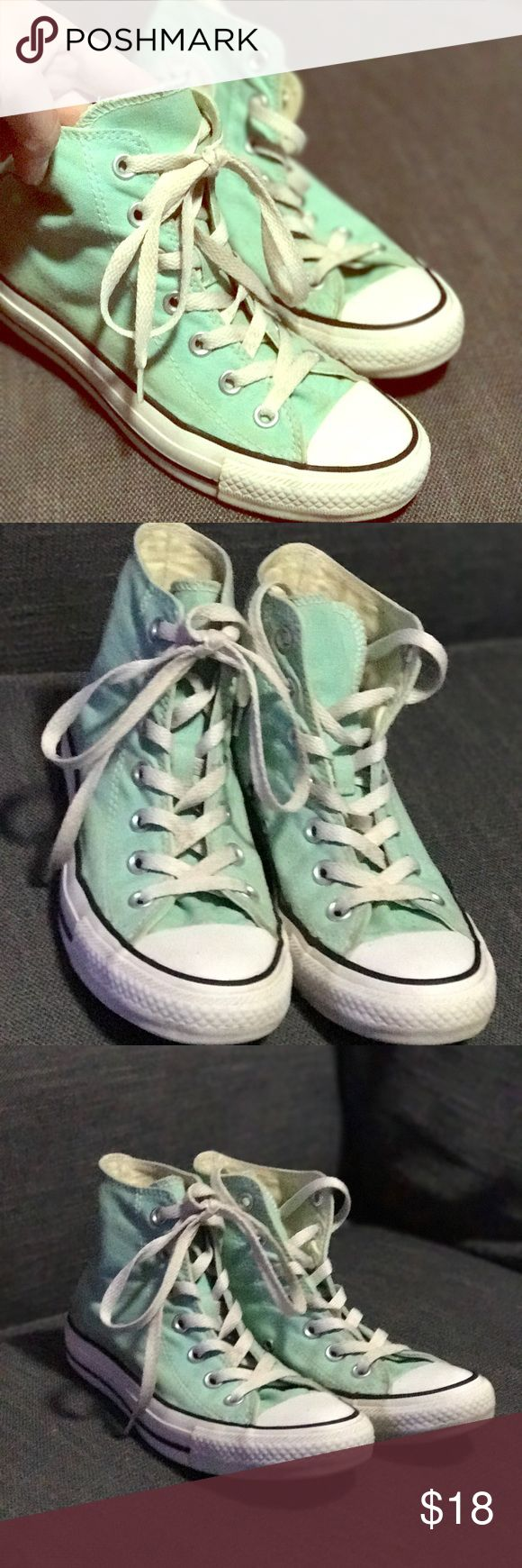 Converse high tops in Aqua Awesome high tops by Converse in a beautiful blue green color. In excellent used condition. Converse Shoes Sneakers