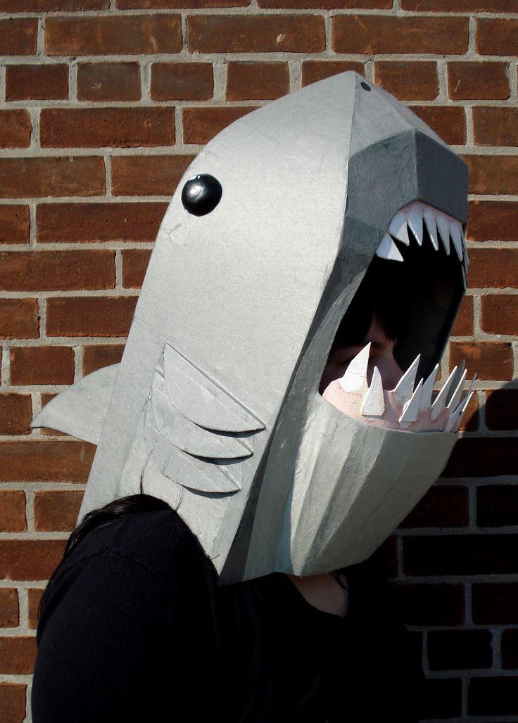 Cardboard shark mask.