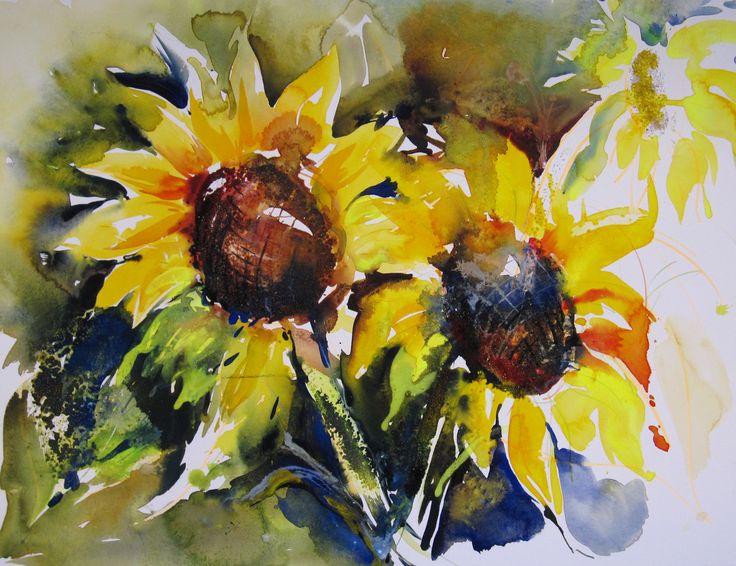 Olga Vinnitskaya. Sonnenblümen Aquarell  mit Aquacryl und Sand.