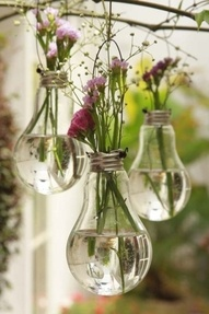old light bulbs with wire wrapped around the side and held up on tree branch by strong or yarn. Fill with water and small flowers.