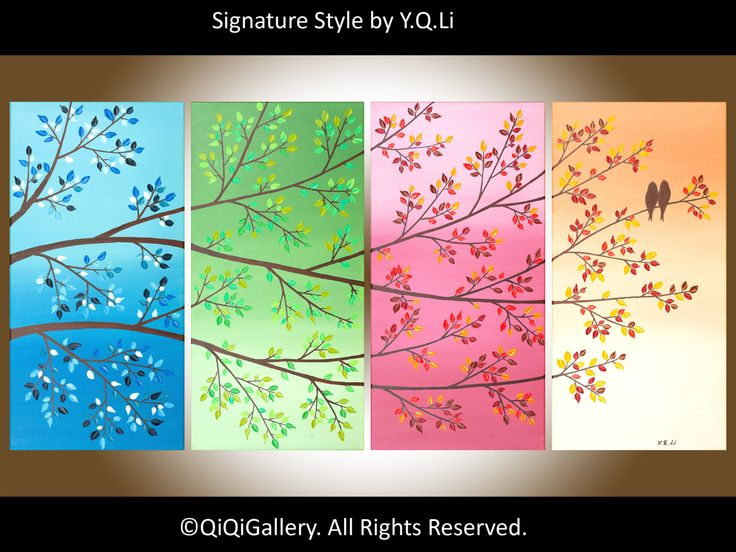 """Abstract Love Birds Painting Gift Ideas Palette Knife Four season trees painting Wall Décor """"New 365 DAYS of Love"""" by QIQIGALLERY. $425,00, via Etsy."""
