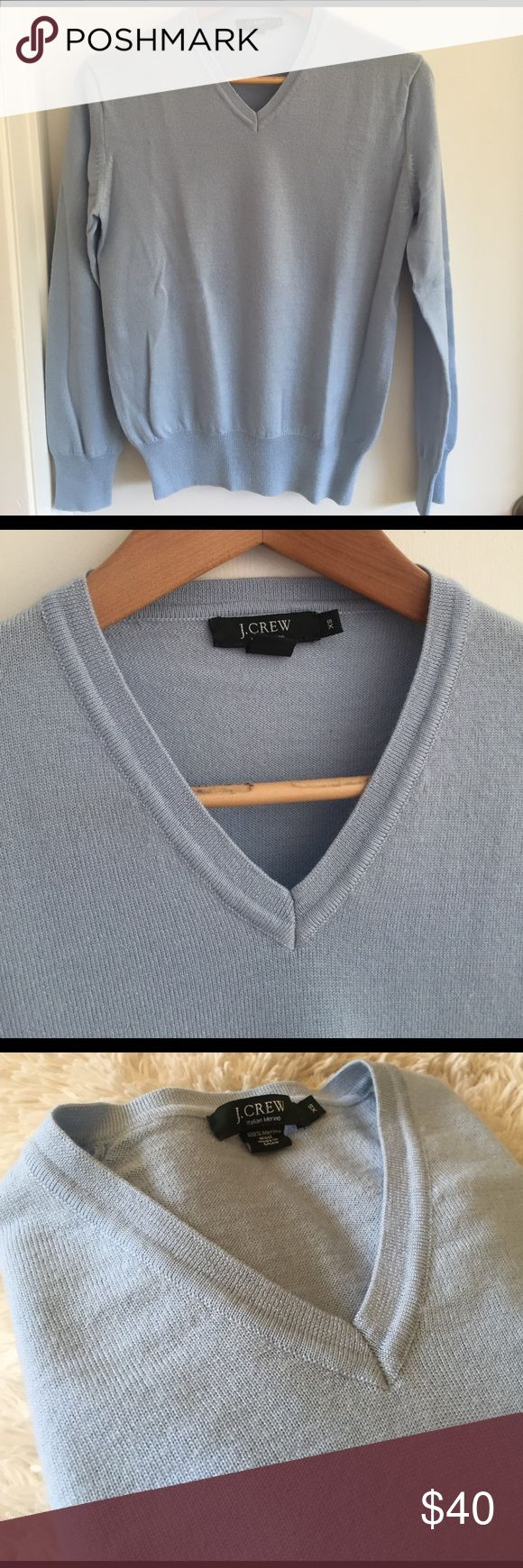 Jcrew Men V Neck Sweater Color: beautiful sky blue, V-neck, only wore once, very great condition. 100% merino wool. J. Crew Sweaters V-Neck