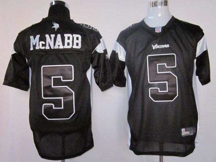 vikings 5 donovan mcnabb black shadow stitched nfl jersey