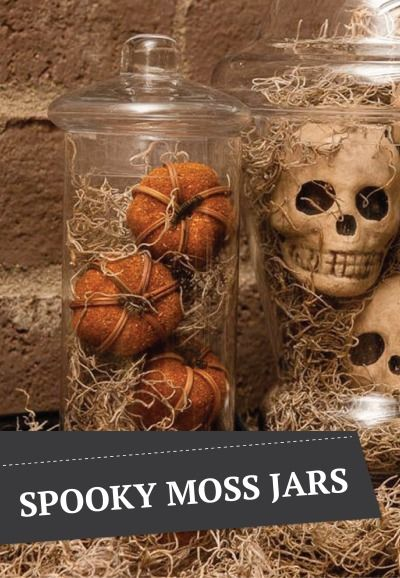 also black feathers or mesh instead of moss spooky spanish moss apothecary jars are a fun and scary way to dress up your house for halloween