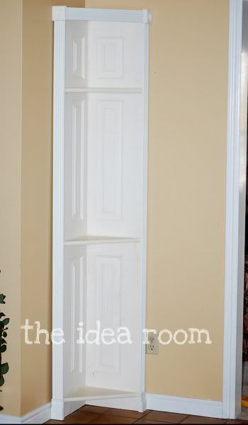 How to make a door into a corner shelf.  This is great, could get the door from Re-user in Gainesville.  For the TV room