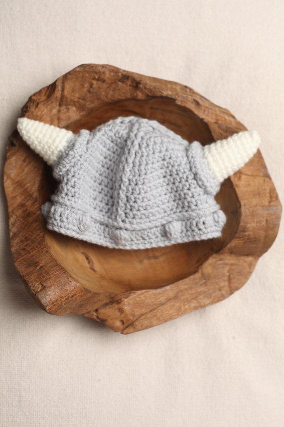 Lael Viking Hat Crochet Newborn Baby Beanie by WarmFuzzyBoutique