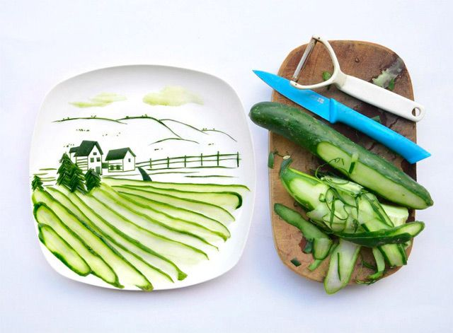 Malaysian artist/architect Hong Yi playful works of #myplate art comprised entirely of food #nnm #nationalnutritionmonth