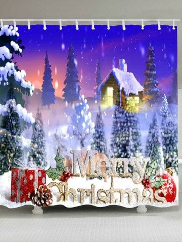 Christmas Snow House Printed Waterproof Shower Curtain Holidays