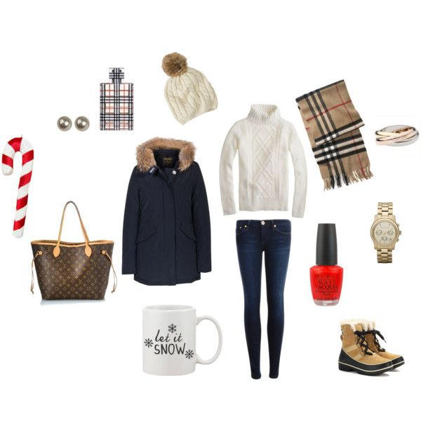 Winter outfit featuring J.Crew sweaters, Woolrich Arctic coat and Sorel Tivoli boots