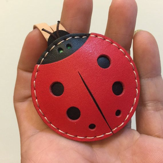 Small size - Penny the ladybug cowhide leather charm ( red / black )