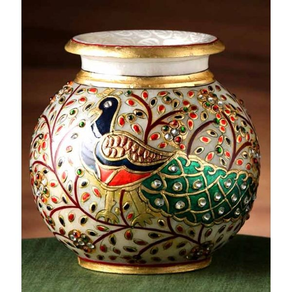 Aapno Rajasthan Hand Painted Peacock Marble Pot With Gold