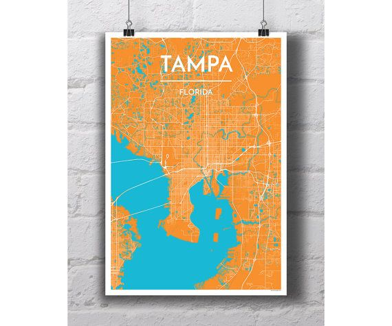 Tampa Florida City Map Print by PointTwoMaps on Etsy