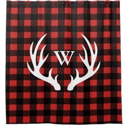 Rustic White Deer Antlers & Buffalo Check Plaid Shower Curtain - black and white gifts unique special b&w style