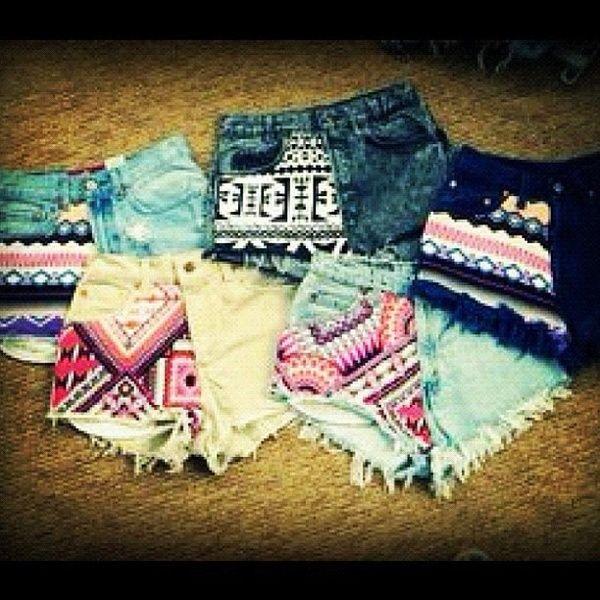 Shorts<3: Patterns Shorts, Summer Fashion, Tribal Shorts, Aztec Shorts, Highwaist, Jeans Shorts, Denim Shorts, Tribal Prints, High Waist Shorts