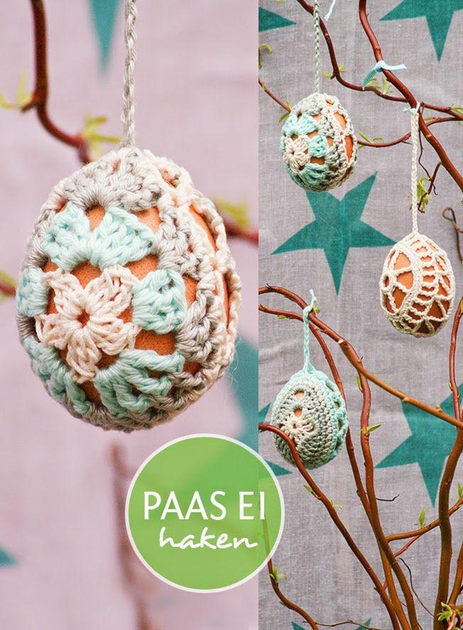 Granny square egg, free pattern in Dutch by Klein Zoet Geluk