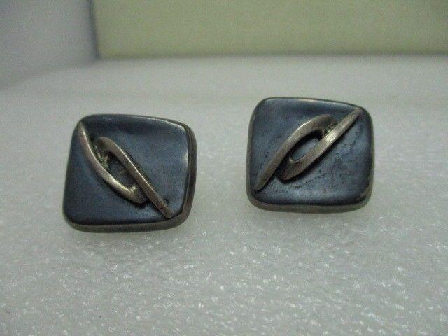 Vintage Sterling Silver Modern Screwback Earrings, Villasana, Taxco, Mexico #TaxcoMexicoVillasana