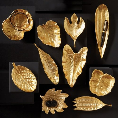 This set of ten Brass Foliage Dishes makes a striking addition to anykitchenware collection. These assorted dishes are made from brass with realistic detailing. #brass #kitchenware