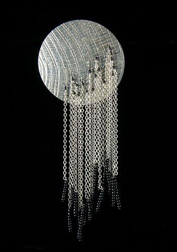 "Brooch ~ Flora Book ~ Waterfall Series in sterling silver and glass beads. Hangs Approx. 5"" tall."