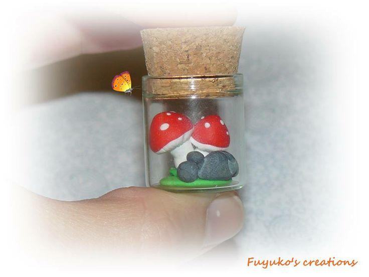 Mushroom in a bottle -polymer clay-