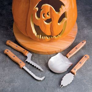 These deluxe pumpkin carving tools are crafted from steel with ergonomic riveted wood handles to last countless Halloweens and give you professional results on your terrifying jack-o-lantern masterpieces!