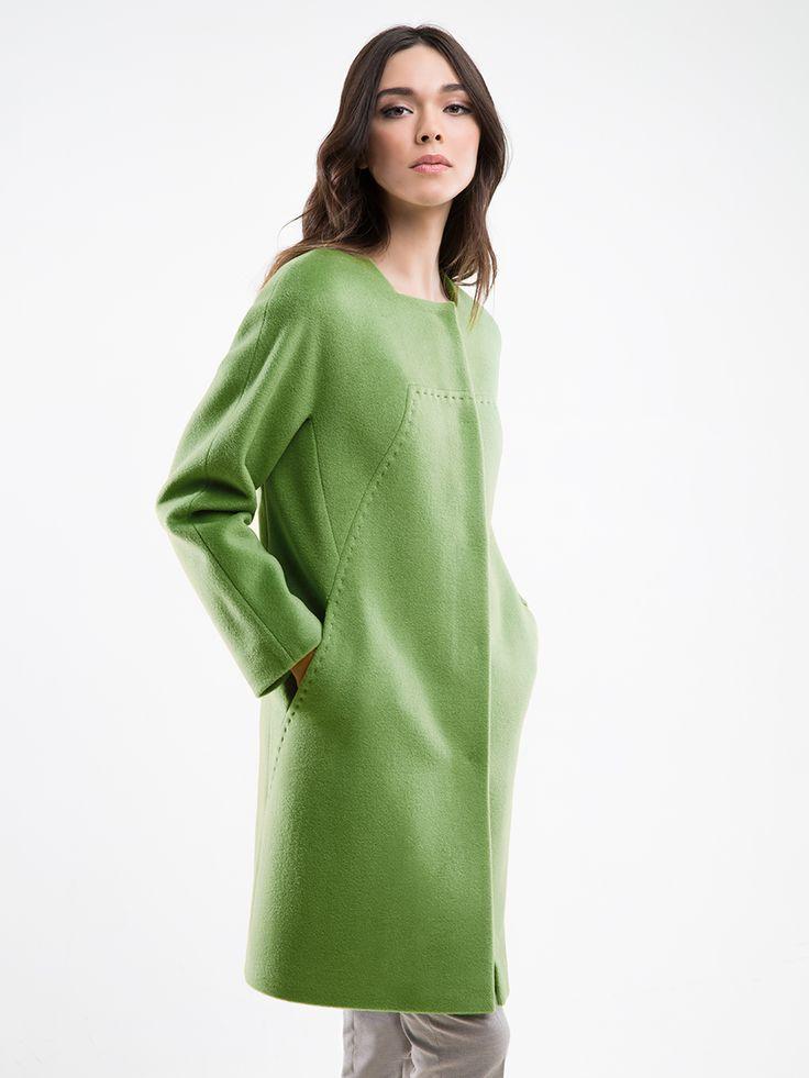 Пальто женское демисезонное цвет салатовый, Пальтовая ткань, артикул 3014541p00044