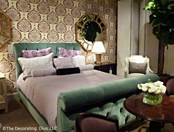 Plush and sophisticated bedroom design in purples and greens by Alexa Hampton  for Hickory Chair.  #hpmkt