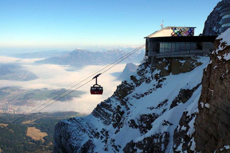 Mt. Pilatus, Switzerland- highest peaks of the Alps.  The building includes a revolving restaurant.