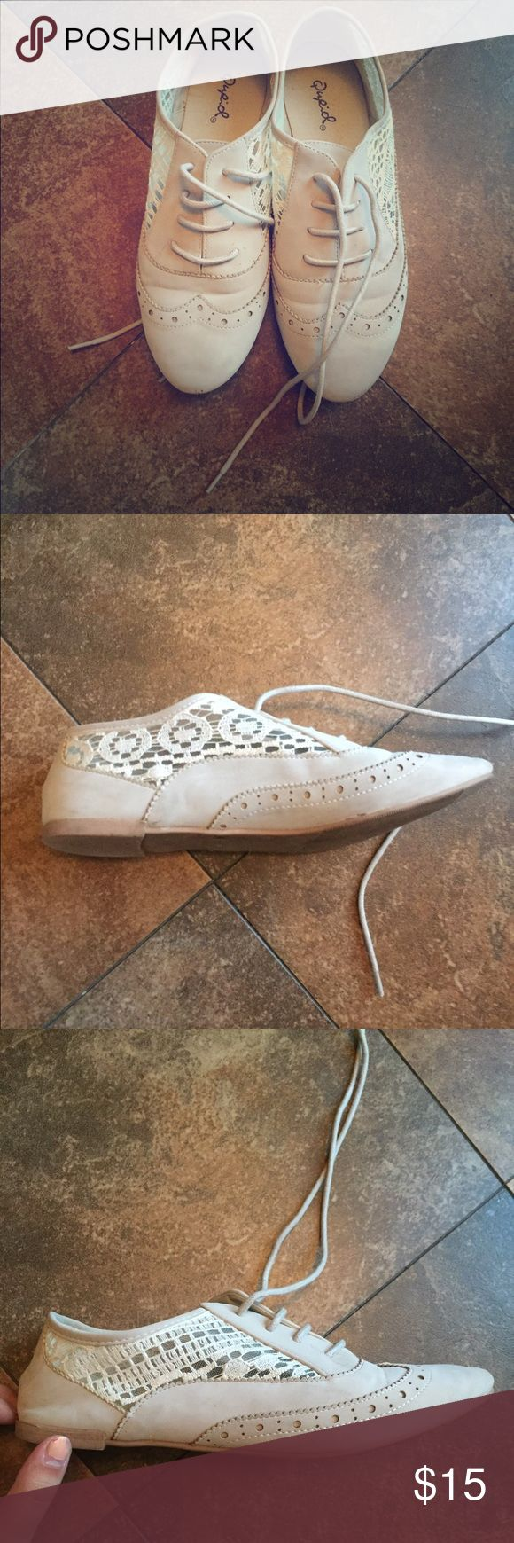 Cream suede/lace oxfords Soft cream/tan suede lace-up oxfords with white lace detailing on the sides. No flaws except for a few scuff marks! Qupid Shoes