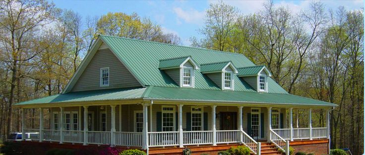 Houses With Green Metal Roofs Metal Products